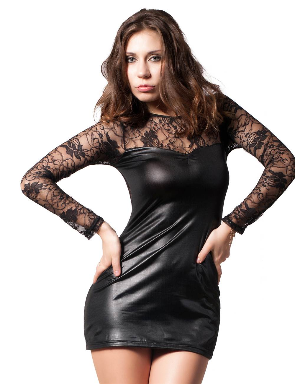 009b6f192d86c Cheap price wholesale black sexy lace leather dress for women -  ohyeah888.com