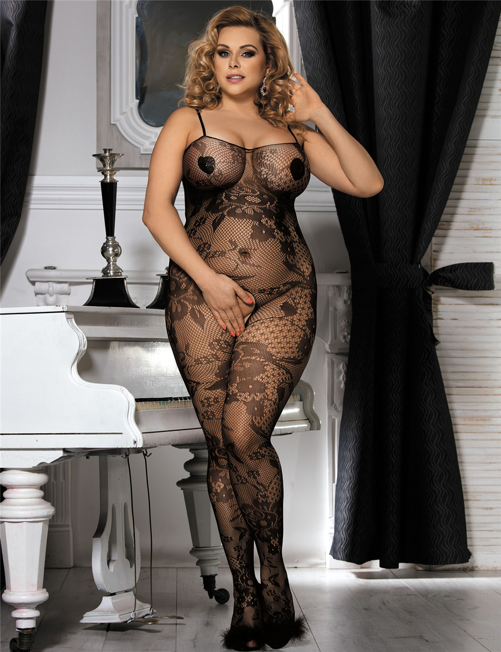 Plus Size Crotchless Floral Fishnet Bodystocking