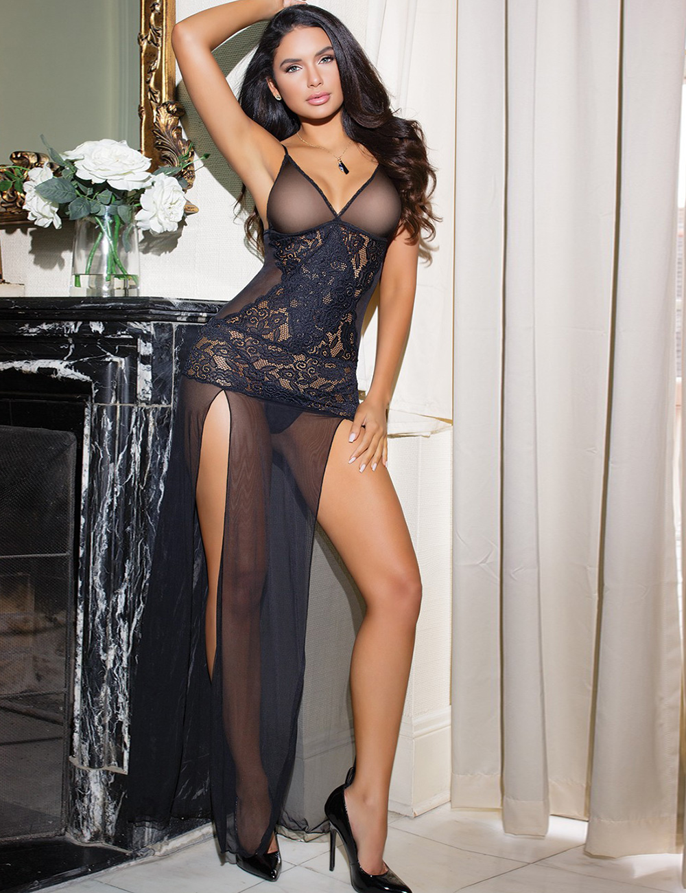 Cheap Black Mesh And Lace Elegant Lingerie Gown