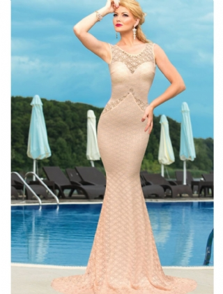 Deluxe Mermaid Style Lace Hollow outs Maxi Evening Dress